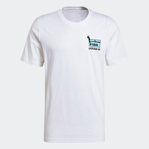 Adidas WORM CHEST 男裝 短袖 T恤 休閒 鞋盒毛毛蟲 純棉 白【運動世界】GN2147