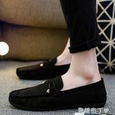 秋季新款豆豆鞋男士百搭個性社會小伙韓版潮流透氣休閒皮鞋  一米陽光