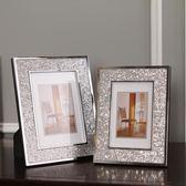 現代簡約金屬相架創意相框擺件擺臺工藝禮品軟裝飾品擺設亮片相框 熊貓本