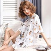 店長嚴選夏季睡衣女套裝短袖兩件套純棉可外穿寬鬆韓版清新學生少女家居服
