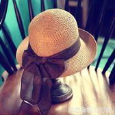 草帽女夏天防曬大檐百搭太陽帽遮陽韓版沙灘帽子女海邊禮帽潮摺疊 居家物語