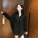黑襯衫女長袖2019春秋韓范ins新款網紅港風洋氣男友風寬鬆襯衣潮