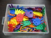 【台灣製USL遊思樂】穿繩 / 小手手(6色,72pcs)+收納盒