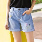 牛仔短褲女韓版大碼鬆緊腰五分褲寬鬆高腰褲