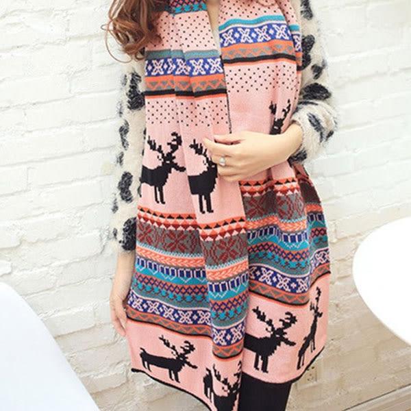 新款聖誕雪花麋鹿 繽紛雙面針織 圍巾 / 披肩 Mt011 ◆ 韓妮小熊