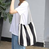 帆布袋 寬條紋 搭釦 帆布袋 水桶包 簡約 側肩包 手提包--手提/單肩【ALSRDT4010】 ENTER  10/17