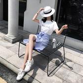 VK精品服飾 韓系時尚印花T恤系帶不規則荷葉邊裙套裝短袖裙裝