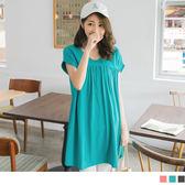 OrangeBear《DA4575》鏤空露背前襟抓皺高含棉反折袖寬鬆長版上衣/洋裝.3色--適 2L~5L