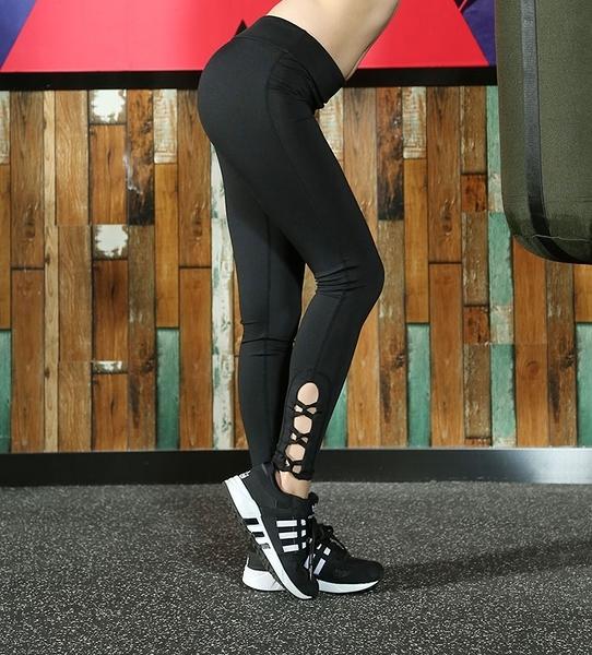 運動跑步褲女生 壓力褲 瑜伽褲  速乾高彈力鏤空編織~廣告韓國名星同款(高品質)~黑色 現貨