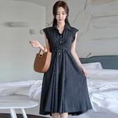 韓系洋裝.禮服.928韓版無袖襯衣領單排扣收腰系帶長款條紋連身裙ZLA07-B快時尚
