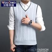 男裝毛衣背心馬甲修身外套秋季男士韓版潮流無袖坎肩薄款針織衫-ifashion