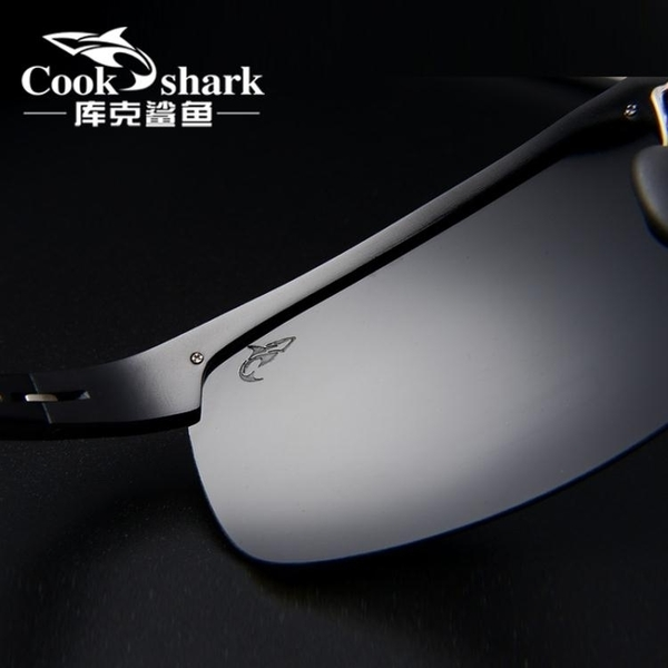 庫克鯊魚新款鋁鎂墨鏡男士太陽鏡高清偏光駕駛開車司機夜視眼鏡潮