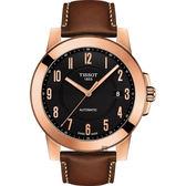 TISSOT天梭 SWISSMATIC 紳士機械錶-玫瑰金框x咖啡/44mm T0984073605201