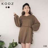 東京著衣【KODZ】休閒感假兩件式側綁帶連帽衛衣布洋裝(191387)