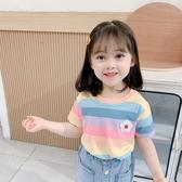 女童短袖t恤 夏季兒童寬松洋氣上衣寶寶夏天夏裝彩虹條紋潮T