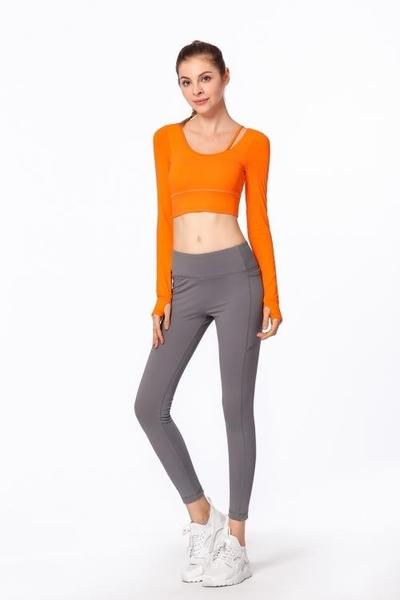 美背款含胸墊瑜珈長袖上衣 跑步運動健身長袖女T恤1849