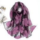 絲巾女冬季韓版蕾絲剪花雪紡紗巾春秋歐根紗披肩圍巾兩用長款 玫瑰
