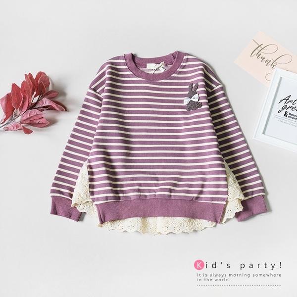 芋紫奶油條紋針織長袖上衣 韓版 秋冬 長袖上衣 針織 女童上衣 女童長袖 保暖 彈性 女童裝