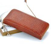 皮夾(長夾)-鱷魚紋奢華時尚大方歐美風女零錢包73eb38【時尚巴黎】