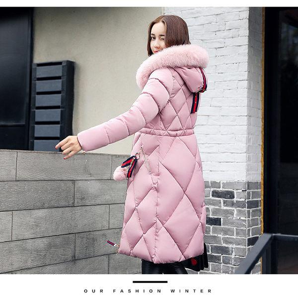 羽絨棉 外套 韓版 大毛領 連帽 大衣 中長版 加厚 保暖 禦寒 棉服 MF560|2706 Shop|
