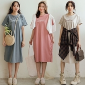 MIUSTAR 正韓-R草寫側開衩衛衣棉質洋裝(共3色)【NJ0777RE】預購