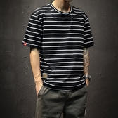 胖子條紋日系潮牌短袖T恤男加肥大碼青年學生圓領夏季海魂體恤衫