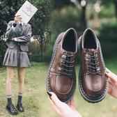 日系復古平底單鞋學生原宿圓頭娃娃鞋百搭韓版學院風英倫小皮鞋女快速出貨