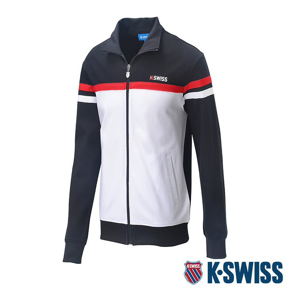 K-SWISS Mock Neck Jacket運動外套-男-黑/白