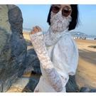夏季防曬面紗女面罩遮臉蕾絲冰袖手套套裝開車神器護頸罩護脖子罩 快速出貨