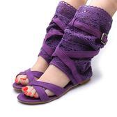 2018夏季新款蕾絲網紗透氣中筒編織露趾多色綁帶平底跟女涼鞋靴子「時尚彩虹屋」