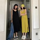 VK精品服飾 韓國風寬鬆慵懶針織吊帶背心裙長裙無袖洋裝
