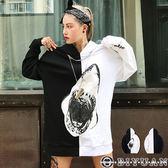 大白鯊厚磅帽T【W2063】OBIYUAN黑潮寬版落肩長袖上衣 共1色