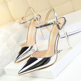 歐美尖頭一字扣高跟涼鞋女夏新款百搭中跟性感細跟氣質單鞋季  米蘭 shoe