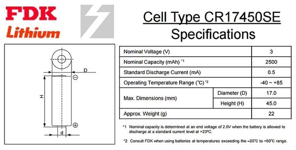 【久大電池】 日本 FDK 三洋 SANYO CR17450SE 3V 帶焊片2P 一次性鋰電【PLC工控電池】FD12