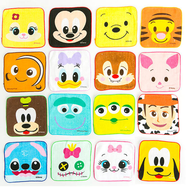 iaeShop 迪士尼Disney 大臉方巾 手帕 擦手巾 米奇 三眼怪 史迪奇 黛西 小熊維尼 史迪奇