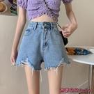 牛仔短褲 辣妹高腰牛仔短褲女夏季薄款新款寬鬆a字五分熱褲子潮-Ballet朵朵