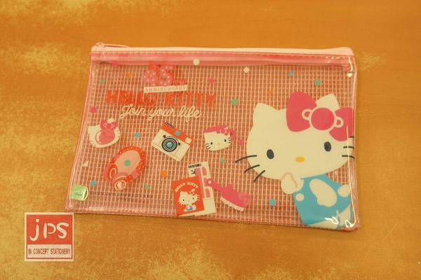 Hello Kitty 凱蒂貓 45週年 便利筆袋 網袋 收納袋 粉 KRT-213866