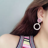 不對稱花朵珍珠氣質女流蘇耳釘韓國簡約個性夸張網紅耳環 一次元