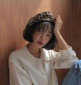 貝雷帽女豹紋復古畫家帽日系休閒【奇趣小屋】