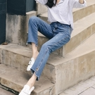 喇叭褲 2018秋季新款微喇叭寬鬆牛仔褲女高腰學生韓版九分直筒喇叭褲潮夏