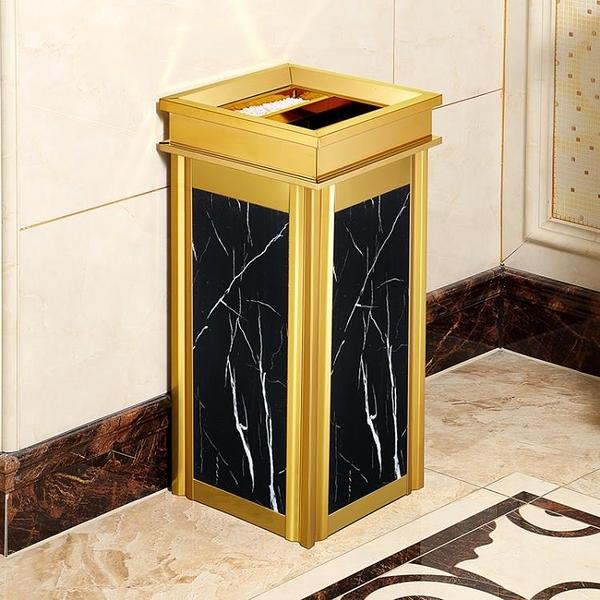 不銹鋼垃圾桶酒店大堂立式高檔家用電梯口仿大理石戶外煙灰桶大號 酷男精品館