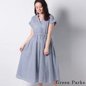 「Summer」清新條紋V領連身洋裝 - Green Parks