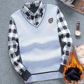 針織衫襯衫領針織衫青少年修身保暖毛線衫麥吉良品