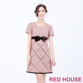【RED HOUSE 蕾赫斯】交叉亮片蝴蝶結洋裝(粉色)