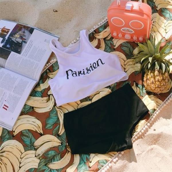 梨卡★現貨 - 韓國性感沙灘字母印花背心高腰遮肚[集中有鋼圈]兩件式泳裝泳衣比基尼C856