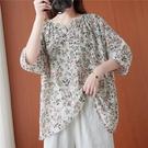 棉綢小碎花V領寬鬆上衣-大尺碼 獨具衣格 J3720