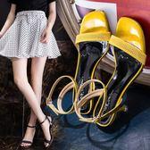 夏季新款露趾細跟高跟鞋性感一字扣中跟晚晚貓跟涼鞋女仙女風 CY潮流站