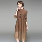 洋裝-長袖針織拼接蕾絲寬鬆女連身裙2色73of129【巴黎精品】