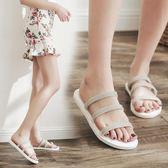 涼拖鞋女式平底沙灘鞋學生外穿時尚拖鞋帶鑚軟底防滑新款