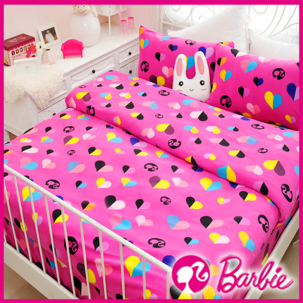 【Barbie】電音心派對-雪芙絨加大雙人床包被套四件組《Born to be a STAR《甜粉》》